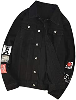 Jmwss QD Men Trucker Denim Jacket BButton Down Motorcycle Cowboy Jean Coat