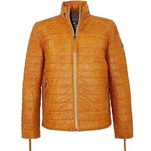 Redpoint - Herren Lederjacke Steppjacke Lammnappa gelb-orange Größe 50