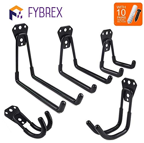 5pcs Heavy Duty Wall Hooks for Garage Storage System Kitchen Organizer, Multi-Size Clip Hook Hanger Holder for Hanging Ladder Weed Eater Extension Cord Shovel Hose Garden Tool, Mount Screws Included
