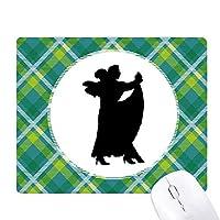 ダンサーのデュエットデュエットダンスパフォーマンス・アート 緑の格子のピクセルゴムのマウスパッド