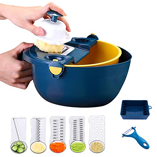 Rayuda Multi-functional Vegetable Chopper with Peeler, Egg Yolk Separator, 5 Blades, Hand Protector and Dewaterer. Manual Onion Chopper for Salad, Potato, Tomato, Carrot, Fruit, Garlic.