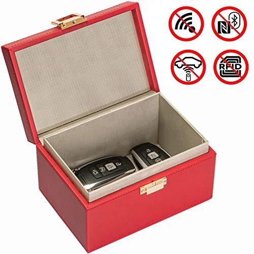 Keyless Go Schutz Autoschlüssel Box | RFID Blocker Autoschlüssel Schutz Keyless |Schutzbox Autoschlüssel Safe | Funkschlüssel Abschirmung | Schluesselbox Keyless Go(Rot)