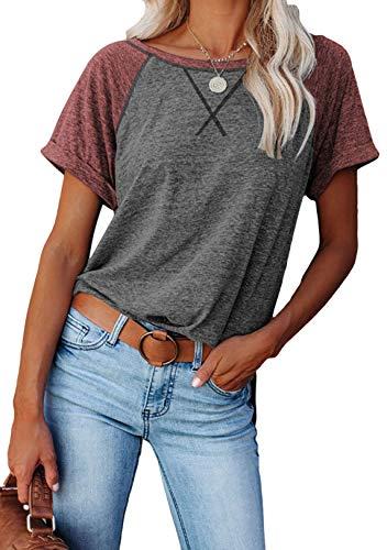 OMZIN Camiseta de mujer de cuello redondo, manga corta, de verano, de algodón, tallas S-XXL B-Dark Grey XXL
