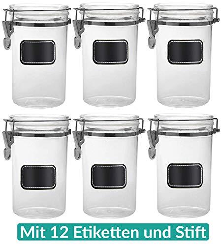 Vorratsbehälter Vorratsdosen 6 teilig 800ml - Luftdichte Deckel - inkl. 12 Etiketten mit Stift