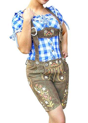 Gesteiner Leather Damen Echtes Wildleder Trachtenlederhose mittellang Hotpants Trachten Lederhose Schlammbraun Trachtenhose inkl. Träger Oktoberfest NEU (36, Schlammbraun)