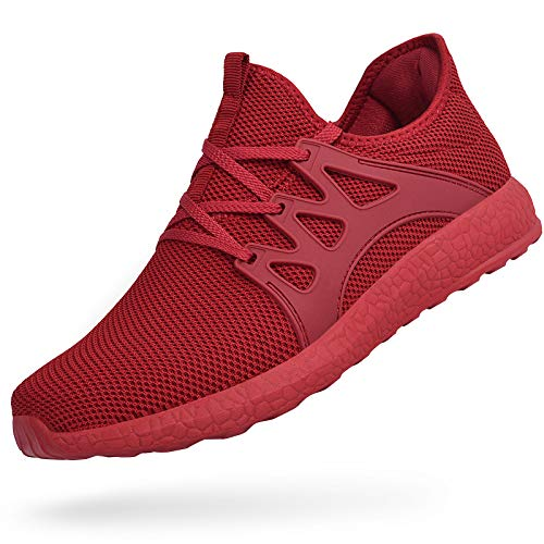MARSVOVO Women's Sports Non Slip Running Shoes Work Shoes Fashion Sneakers Air Knitted Ultra Lightweight Breathable Athletic Gym Walking Running Shoes Red Size 10
