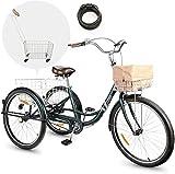 Viribus Triciclo per Adulti con Cestino Posteriore/Anteriore Bicicletta a Tre Ruote con Cestino Impermeabile Triciclo per Uomo e Donna (Verde 26 pollici)
