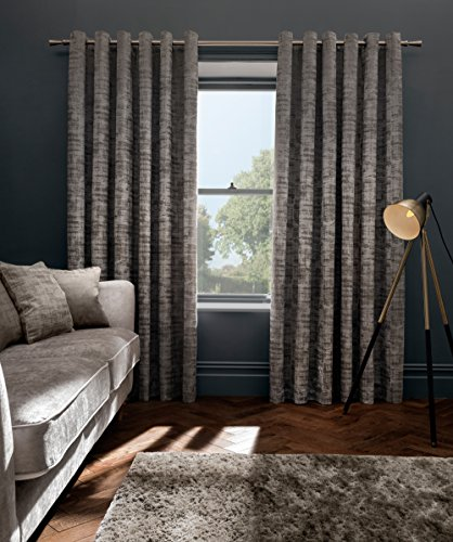 Yorkshire Linen Studio G Rideaux à œillets en velours Naples Taupe 66 x 90/168 x 229 cm