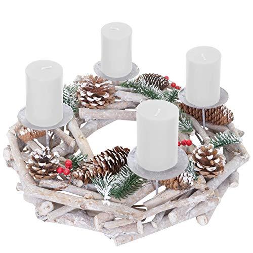 Mendler Adventskranz rund, Weihnachtsdeko Tischkranz, Holz Ø 35cm weiß-grau - mit Kerzen, weiß