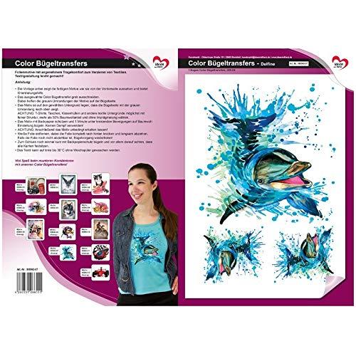 Transferencia de planchado a color, DIN A4 | textiles como camisetas y bolsillos con motivos de planchado | imágenes de transferencia rápida y fácil planchado | Diseño textil DIY (delfines)