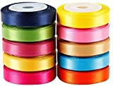 Party Hub Craft Satin Ribbon for Decoration Gift Wrapping and Other Multi-Purpose Use (Pack of 10Size:- 0.25 Inch) 9 metres Approx (Multi)