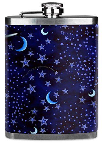 7 Oz Hip Flask with Insulated Wetsuit Cover - Blue Stars - Image by...