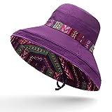 Shihuawu Sombrero de Verano, Sombrero de Pescador Flexible, Sombrero de Sol de Doble Cara, Gorra Bohemia de ala Ancha femenina-modena-56-60CM-G0796