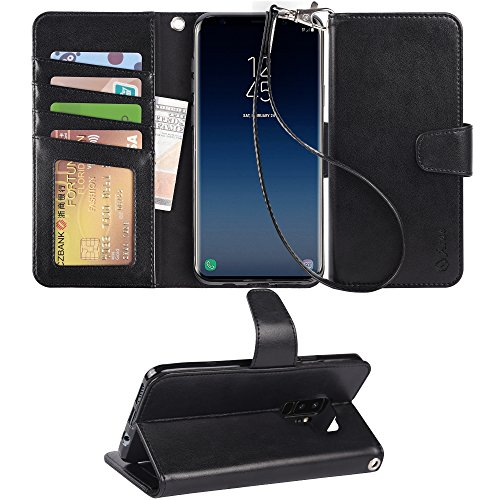 Arae Case Compatible for Samsung Galaxy S9 Plus, [Wrist Strap] Flip Folio [Kickstand Feature] PU Leather Wallet case with ID&Credit Card Pockets - Black