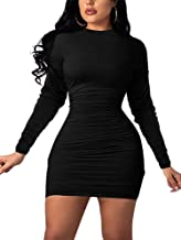 YFANG Women's Basic Long Sleeve Boydcon Dress Ruched Round Neck Club Mini Dress