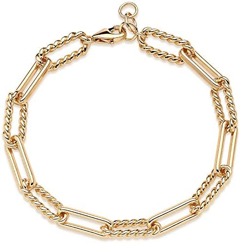Mevecco Gold Beaded Anklet,14K Gold Plated Handmade Cute Satellite Diamond Cut Oval and Round Beads Rope Chain Dainty Anklet for Women
