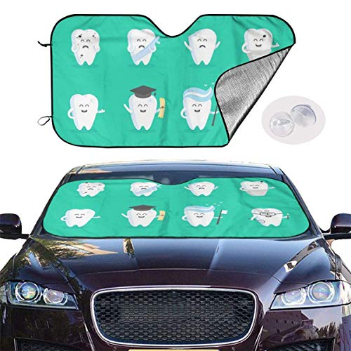 VTIUA Parasol para Parabrisa,parasoles de Coche Auto Cartoon Funny Teeth Portable Universal Sunshade Keeps Vehicle Cooler for Car,SUV,Trucks,Minivan Automotive and Most Vehicle Sunshade (51 X 27 in)