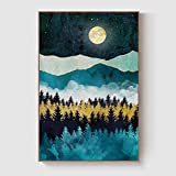 GENTLE DEER Bedroom Decor Framed Canvas Nordic Style Sun Moon Artwork Decoration Abstract Mountain Nature Scenery Wall Decor Artwork for Walls Hang in Living Room (16'' x 24'' Coffee, Style 4)