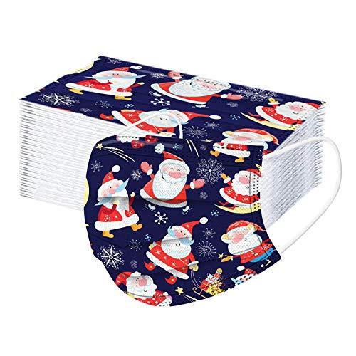 100 Stück Frauen Männer Einweg Weihnachten bedrucktes Muster Mund- und Nasenschutz 3-lagige Verdickung, Bequeme elastische Ohrmuscheln, kältebeständig(D)