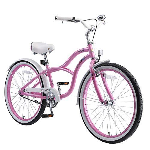 """BIKESTAR Bicicletta Bambini 10-13 Anni Bici Bambino Bambina 24 Pollici Freno a Pattino e Freno a retropedale 24"""" Cruiser Edition Rose"""