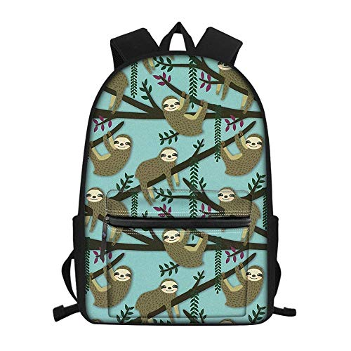 Cartoon Sloth Printing Backpack Teen Boys Girls School Book Bags for Middle Student Bagpack