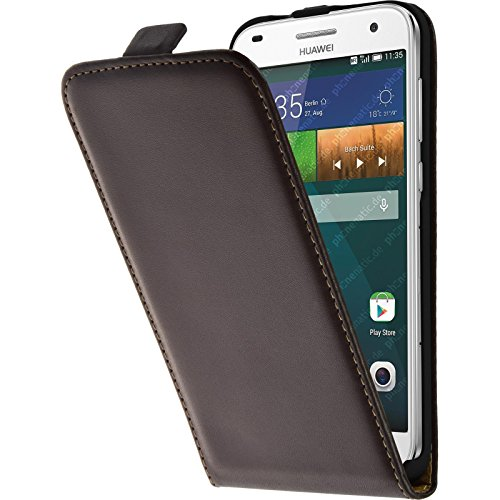 PhoneNatic Lederhülle kompatibel mit Huawei Ascend G7 - Flip-Hülle braun + 2 Schutzfolien