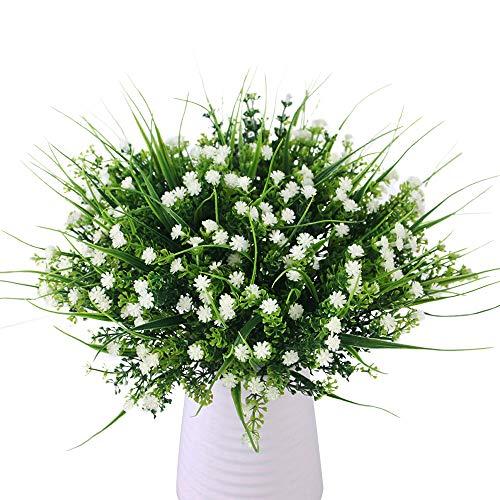 JaneYi 6 Stück Künstliche Gypsophila Plastikblumen Gefälschter Blumenstrauß Künstlich Strauch Blumengesteck Grünpflanzen für DIY Innen Draussen Zuhause Küche Balkon Garten Büro Party Dekor - Weiß