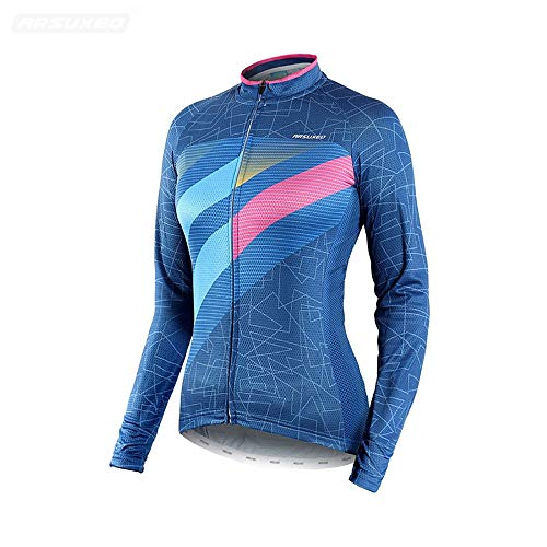 Gimitunus Maillot Ciclismo Mujer Thermal Camisa de Manga Larga con Estampado otoñal,...