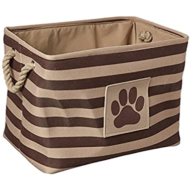 Bone Dry DII Medium Rectangle Pet Toy and Accessory Storage Bin, 16x10x12, Collapsible Organizer Storage Basket for Home Décor, Pet Toy, Blankets, Leashes and Food-Brown Stripes