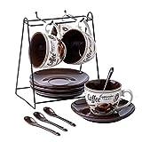 Juegos de café Porcelana Tazas de café expreso con platillos, Taza Casa Demitasse Copas Perfecto for Espresso, Capuchino, té, Bebidas de café Vajilla Tazas (Color : D)