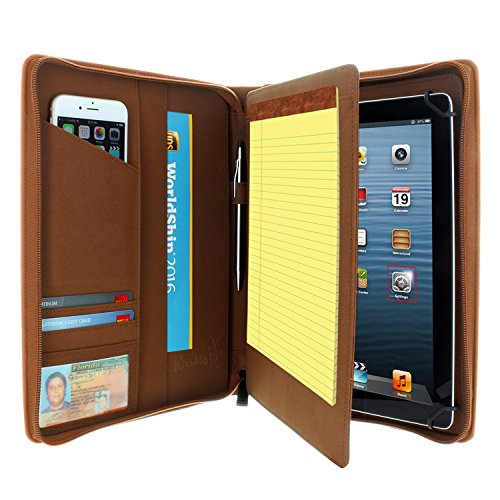 KHOMO Universal Tablet Padfolio Zippered Case for 8.5'' up to 11'' tablets - Brown - Compatible with iPad Air, Pro 11 and many others