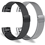 """Oitom for Fitbit Charge 2 Accessory replacement Band,Small 5.1""""-6.7"""",2 Pack Silver+Black"""