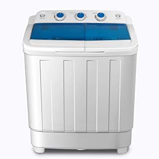 Portable Washing Machine, KUPPET 17lbs Compact Twin Tub Washer and Spin Dryer Combo for Apartment, Dorms, RVs, Camping and More, White&Blue(Type1)