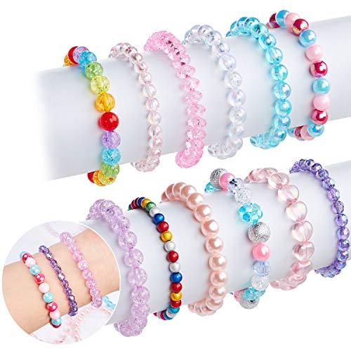 Lorfancy - Juego de 12 pulseras de cuentas para niñas, diseño de arco iris, para bebé, diseño de amistad, elástico, para disfraz