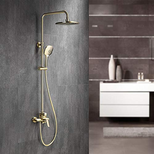 Best Buy! L.J.JZDY Shower Set Full Copper Brushed Gold Shower Set Handheld Shower System 3 Function ...