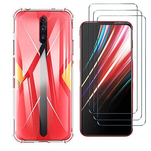 HYMY Hülle für Nubia Red Magic 5G + 3 x Schutzfolie Panzerglas -Transparent Schutzhülle TPU Handytasche Tasche Verstärkung an Vier Ecken Hülle