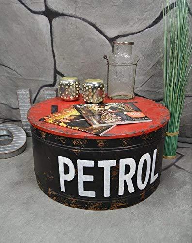 Livitat® Couchtisch Beistelltisch rund Metall Ölfass Vintage Industrie Look LOFT Shabby LV5021 (Rot)