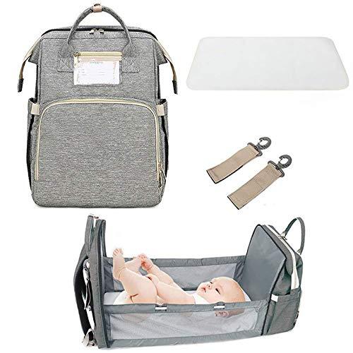AYYSHOP Mochila Multifuncional Plegable para Estación De Cambio De Pañales, Bolsa De Viaje para Bebé Impermeable De Gran Capacidad con Puerto De Carga USB