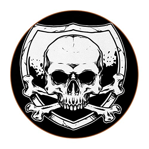 Drink Coasters with Holder Set of 6 - Tabletop Protection for Any Table Type Perfect Soft Silicone Coaster Fits All Modern Glasses Bone Skull