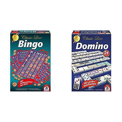 Schmidt Spiele 49089 Classic Line, Bingo, mit Zahlensteinen aus Holz, bunt & 49207 Classic Line, Domino, mit großen Spielsteinen, bunt
