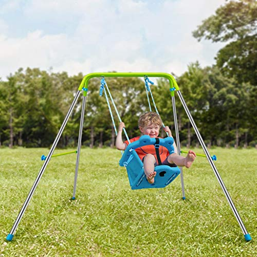 giokfine My First Toddler Swing - Heavy-Duty Baby Indoor/Outdoor Swing Set with Safety Harness
