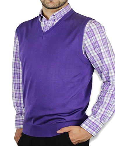 Blue Ocean Solid Color Sweater Vest-2X-Large Purple