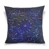 Funda de almohada decorativa para cojín cuadrado, constelación del zodiaco, espacio Galaxy nebulosa sofá cama, funda de almohada de dos lados 50,8 x 50,8 cm