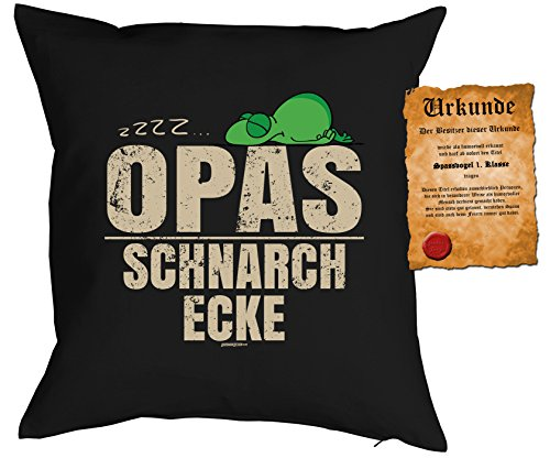 Opa Sprüche Kissen Geschenk Großvater Geschenk : …Opas Schnarch Ecke - Kissen ohne Füllung + Urkunde - Farbe: schwarz