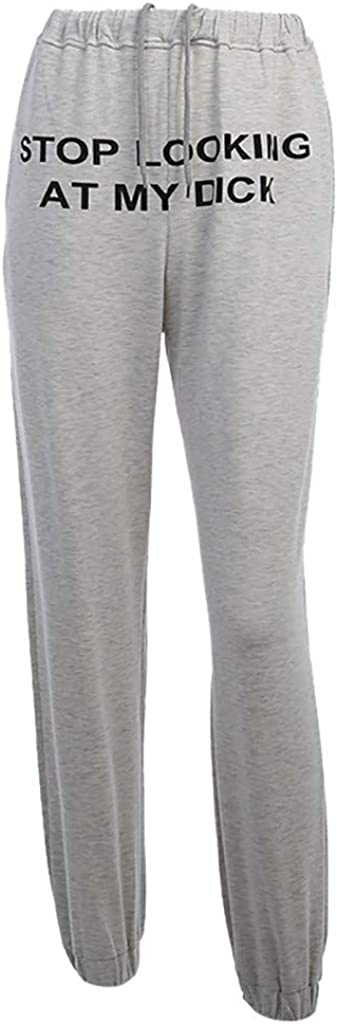 Evangelia.YM Womens Casual Sports Sweat Pants Trousers Stop Looking at My Dicking Lettering Printing High Waist Leggings