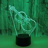 SFALHX 3D Lampe LED Nachtlicht Geige 7 Farben Wählbar Dimmbare Touch Schalter Nachtlampe Geburtstag Geschenk, Frohe Weihnachten Geschenke Für Mädchen Männer Frauen Kinder Bestes Geschenk