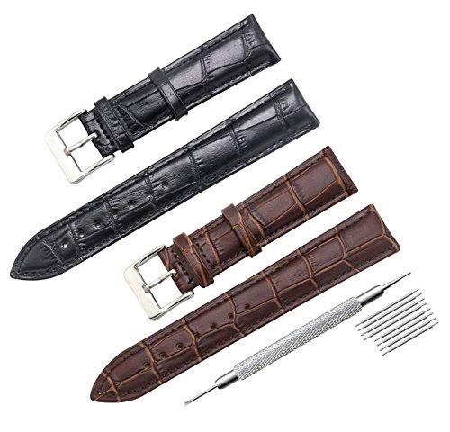 CIVO Uhrenarmband 2 Packungen Echtes Leder Armband für Männer und Frauen Uhrband 16mm 18mm 20mm 22mm 24mm
