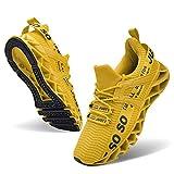 JSLEAP Herren Laufschuhe Sportschuhe Straßenlaufschuhe Sneaker Herren Tennisschuhe Fitness Schuhe (1-Gelb,Größe 43 EU/265 CN