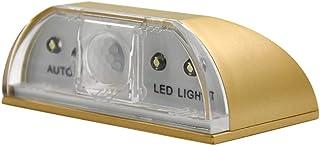 Práctico led lámpara de noche inteligente de la cerradura de la puerta del gabinete de la llave de inducción pequeña luz de la noche sensor de la luna lámpara lampara de Luna (oro)