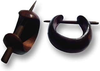 ISLAND PIERCINGS - Cerchietti in legno realizzati a mano (ER018), stile piercing/creolo